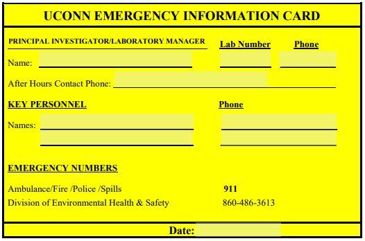 UConn Emergency Information Card