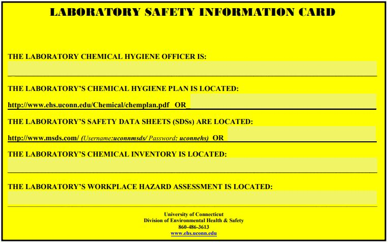 Laboratory Safety Information Card