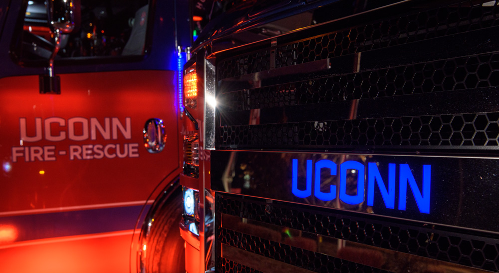 UConn Fire apparatus parked outside the Public Safety Complex