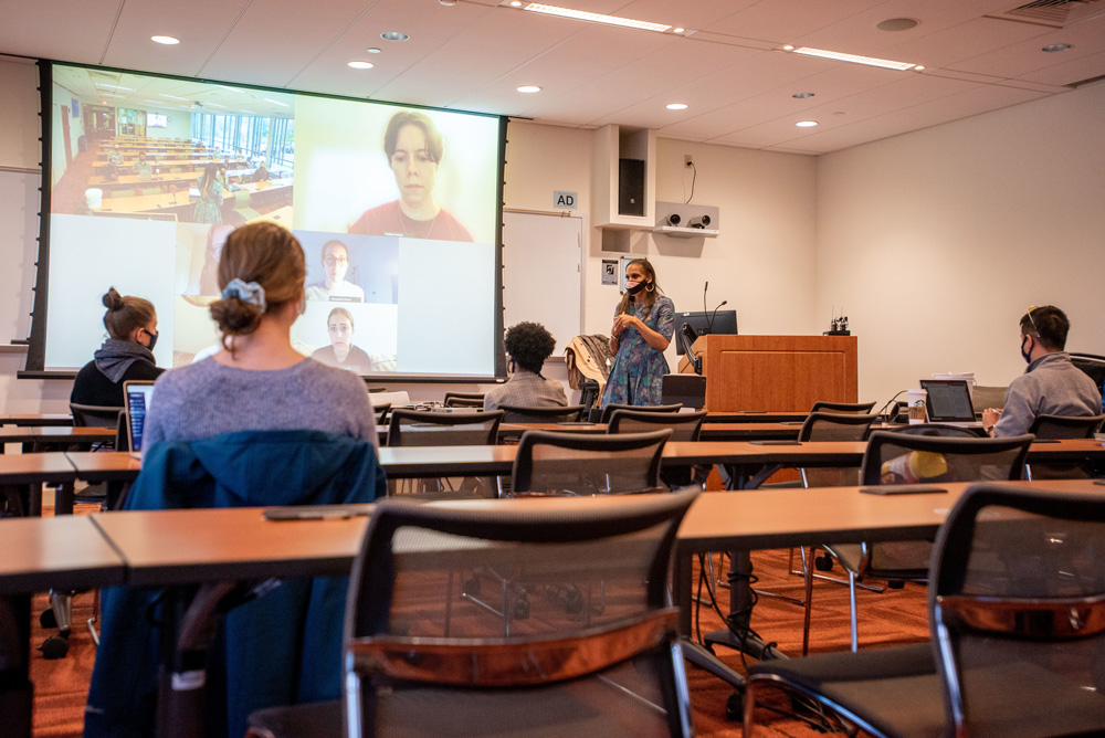 Associate Professor Tamika LaSalle giving a lecture in the School of Nursing